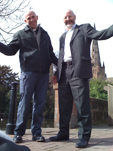 Canon Pete Wilcox from Lichfield Cathedral and Peter Bradley from Speakers' Corner Trust mark the spot